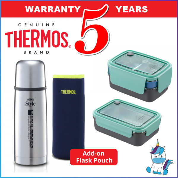 Thermos / Thermocafe Stainless Steel Thermos Flask and Lunch Box / Jar - Thermos Flask Pouch - Keep Warm and Cold - 5 Year Warranty