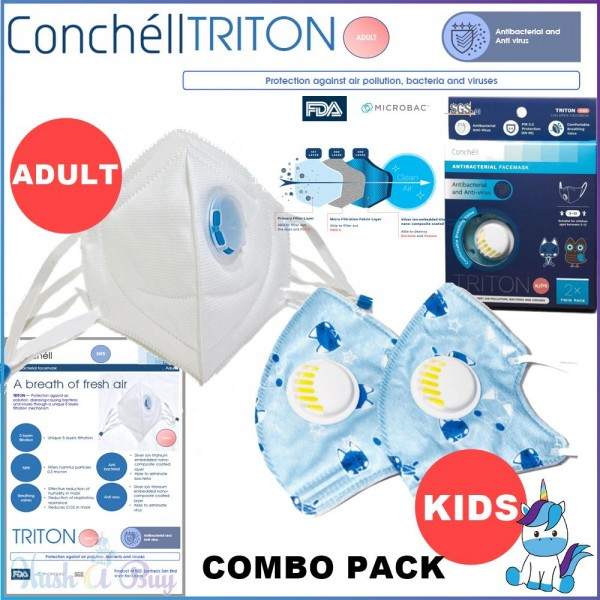 Conchell TRITON - Antibacteria Reusable Facemask Face Mask N95 for KIDS (2pcs) & Adult (2pcs) PM2.5 Protection from Haze Jerebu