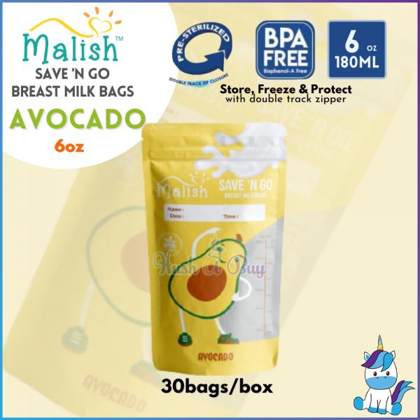 Malish Save N Go Breast Milk Bags 10bags - 28bags/30bags - 3.4oz/3.5oz(SENSOR)/4oz/6oz/8oz