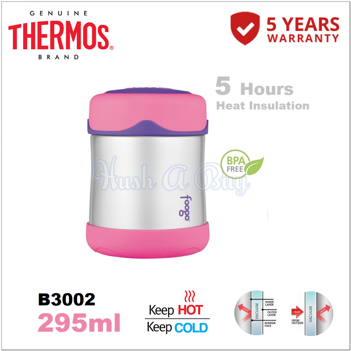 Authentic Thermos Foogo Food Jar 295ml - 5 Years Warranty