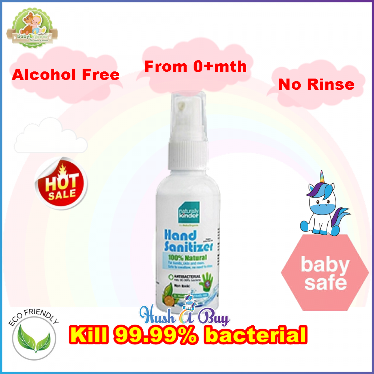 BabyOrganix Natural Kinder Hand Sanitizer 30ml or Sanitizing Water 400ml