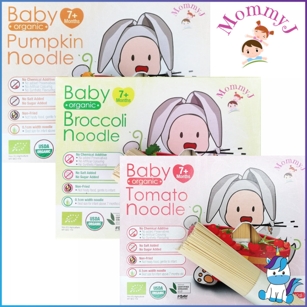 MommyJ Organic Pure rice Cereal / Grains Cereal / Stick Noddles (7+Months) Broccoli, Tomatoes, Pumpkin 200g