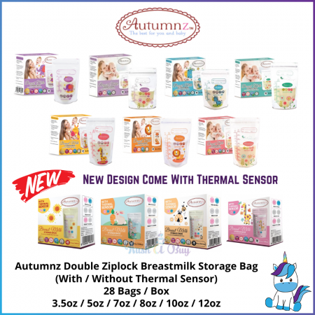 Autumnz Double ZipLock Breastmilk Storage Bag / Bag Susu - THERMAL SENSOR - (28 Bags) 3.5oz / 5oz / 7oz / 8oz / 10oz / 12oz