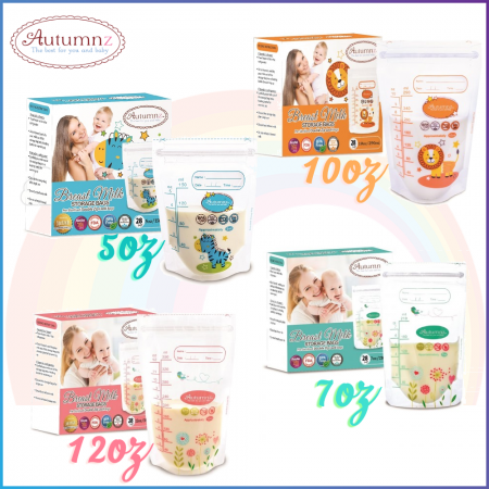 Autumnz Double ZipLock Breastmilk Storage Bag / Bag Susu (28 Bags) 5oz / 7oz / 10oz / 12oz