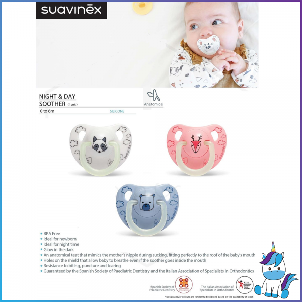 Suavinex Night & Day Collection BPA Free 0 to 6 Months Anatomical Silicone Soother Pacifier