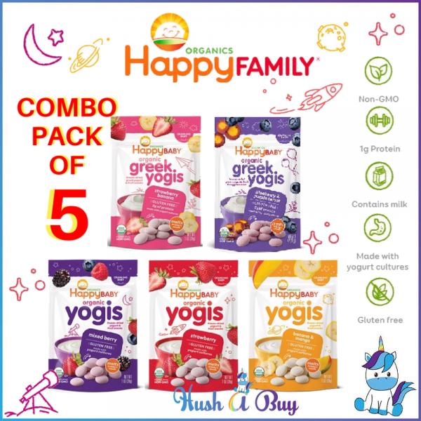 [DISCONTINUE] COMBO OF 5 - Happy Baby Organic Yogis/Greek Yogis/Yogis Snack (28g) - Strawberry Banana Blueberry Mango