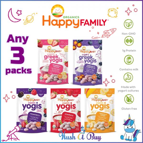 [DISCONTINUE] Happy Baby Organic Yogis/Greek Yogis/Yogis Snack (28g) - Strawberry Banana Blueberry Mango - Any 3 Packs