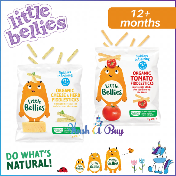 Little Bellies Organic Fiddlesticks Cheese & Herbs / Tomato  12g - Made in United Kingdom (For 12+M)