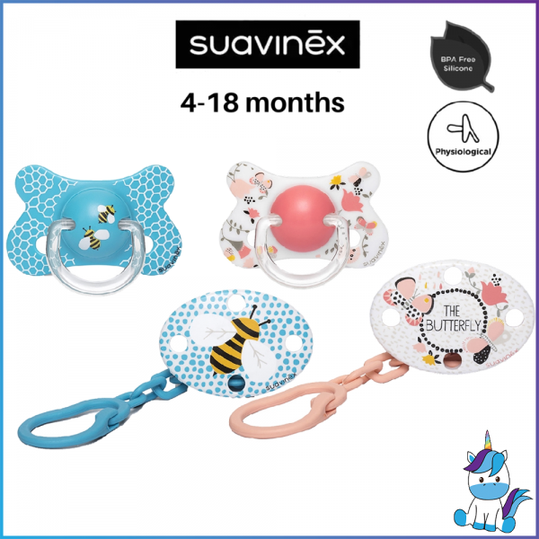 Suavinex Fusion Collection BPA Free Physiological 4-18m Months Oval Soother Pacifier Clip Set