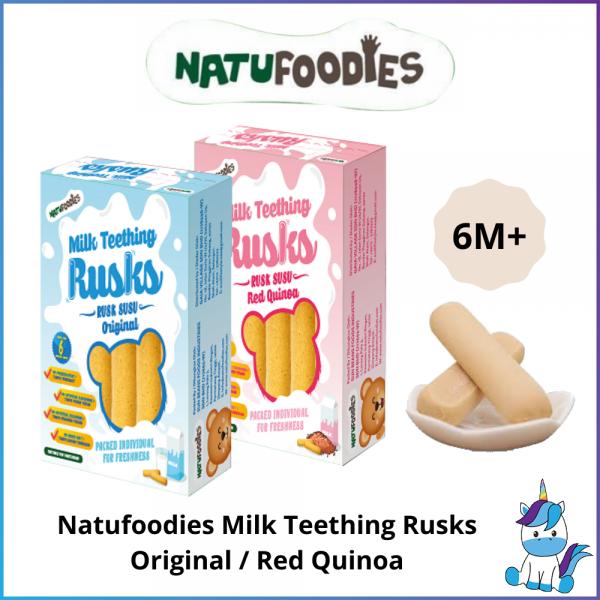HALAL - Natufoodies Milk Teething Rusks (15gx6) Original / Red Quinoa - Baby First Food  - 6 Month+
