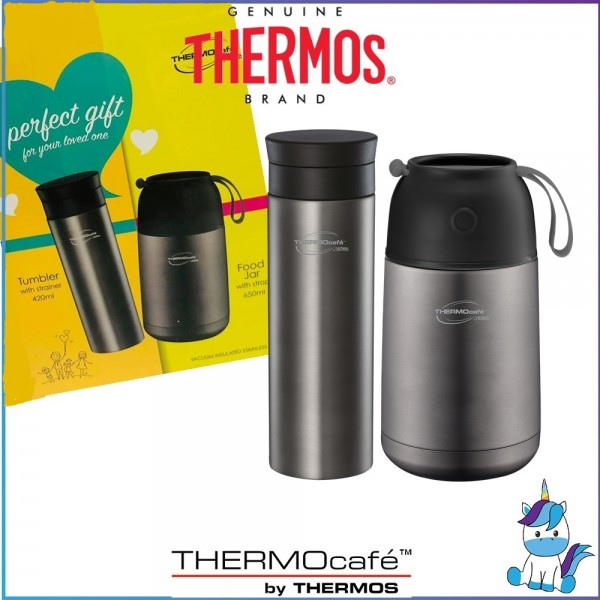 ThermoCafe Perfect Gift Set - Tumbler with strainer 420ml + Food Jar with strap 650ml - 5 Years Warranty by THERMOS MALAYSIA