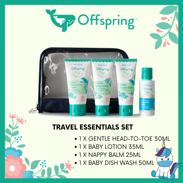 Offspring Travel Essentials Set with Dish Wash or Hand Sanitizer or Multi-Surface Cleanser