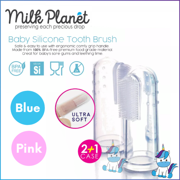 Milk Planet Baby Planet's Baby Silicone Tooth Brush with Case - Blue / Pink