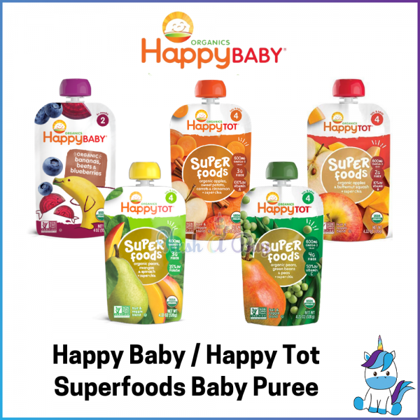 Happy Baby Organics HappyBaby Happy Family / Happy Tot Superfood Baby Puree Pouch - Baby First Food - Baby Fruits and Veggies