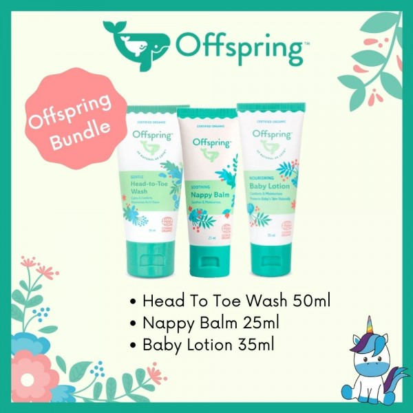 Offspring Head-To-Toe Wash 50ml + Nappy Balm 25ml + Baby Lotion 35ml