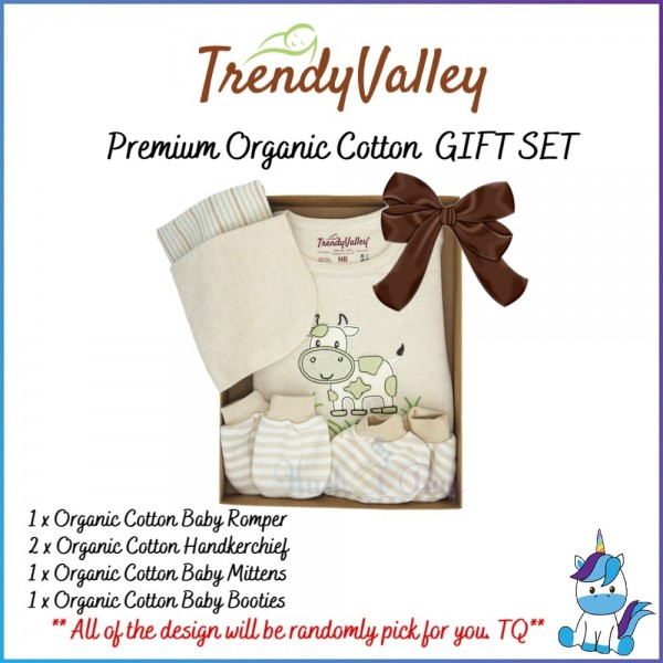 Trendy Valley Premium Organic Cotton Gift Set of 3 for Newborn  (Baby Romper+Handkerchief+Mittens&Booties)