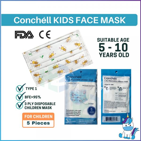 Conchell 3ply KN90 Disposable Children Mask 5pcs/pack