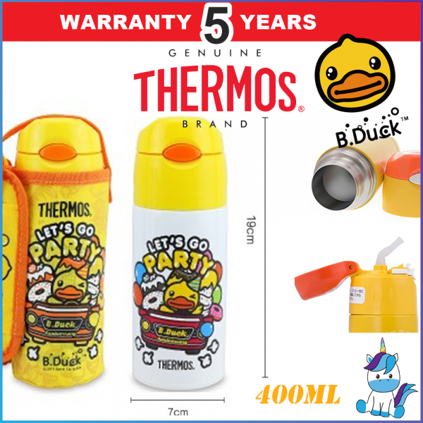 Thermos Bduck Ice Cold/Warm Stainless Steel Insulation Straw Bottle with Pouch - 5 Years Warranty