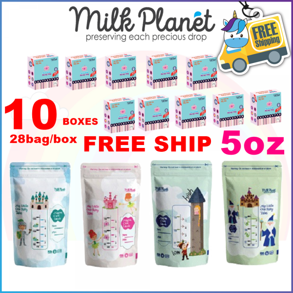 10 BOXES - Milk Planet Premium Double Zip Lock Breastmilk Storage Bag with Thermal Sensor 10OZ - Bag Susu 28pcs
