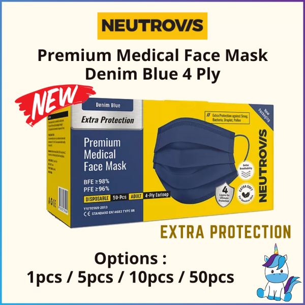 Neutrovis Premium Disposable Adult Medical Face Mask 4 Ply Denim Blue - Stylish and Cool Face Mask
