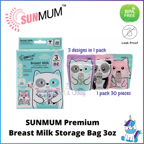 SUNMUM Premium Breast Milk Storage Bag 3oz 30 pieces per box (1box/4boxes)