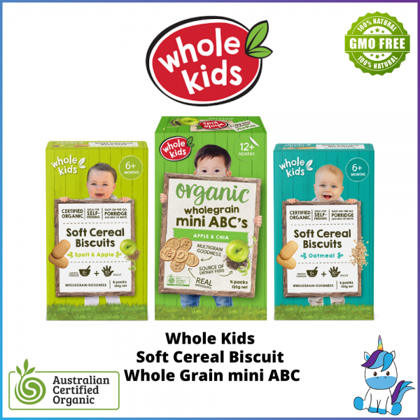 Whole Kids Organic Soft Cereal Biscuits or Wholegrain Mini ABC - Oatmeal / Spelt & Apple / Apple & Chia - ACO Certified Organic - Made in Autralia