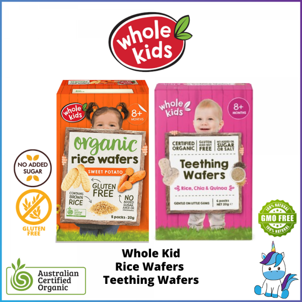 (Gluten Free) Whole Kids Organic Rice Wafers / Teething Wafers 20g - ACO Certified Organic  (8+M) Made in Thailand