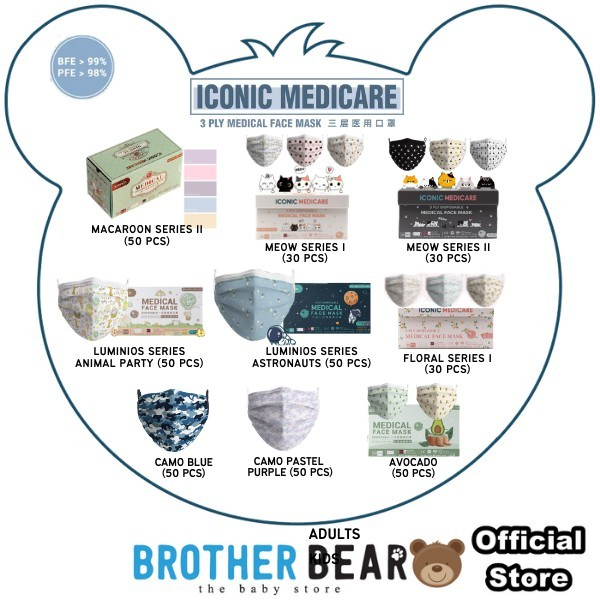 Iconic Medical Premium Quality Special Edition 3ply Cute Disposable Face Mask for Kids/Adults Made in Malaysia