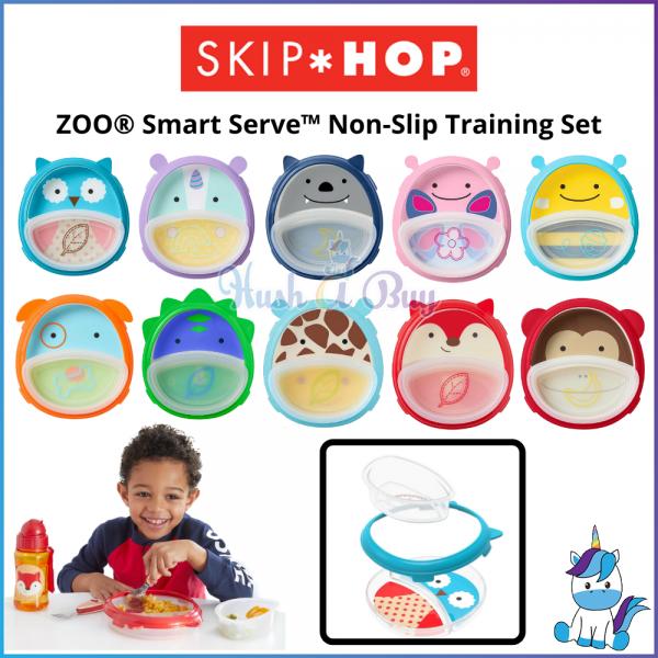Skip Hop ZOO® Smart Serve™ Non-Slip Training Set - Kids Cute Plates and Utensils (6M+)
