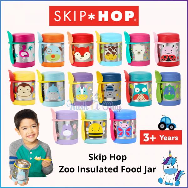 #Skip Hop Zoo Insulated Children Cute Food Jar 325ml - Kids Food Jar and Utensils - Keep Warm and Cold (3Y+)