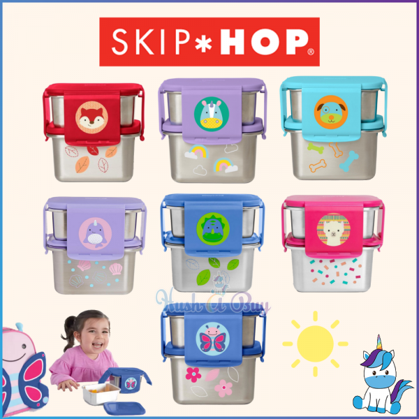 Skip Hop Zoo Stainless Steel Lunch Kit - Kids Cute Lunch Box and Container (3Y+) - 1 Year Warranty