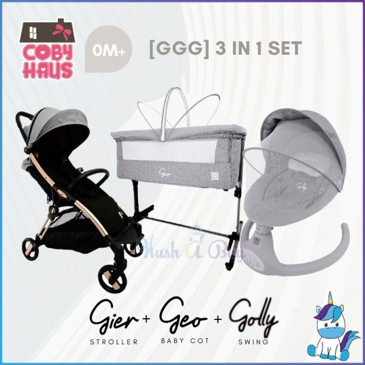 Coby Haus [GGG] 3in1 Set – Gier Stroller & Geo Baby Cot & Golly Swing - 1 Year Warranty