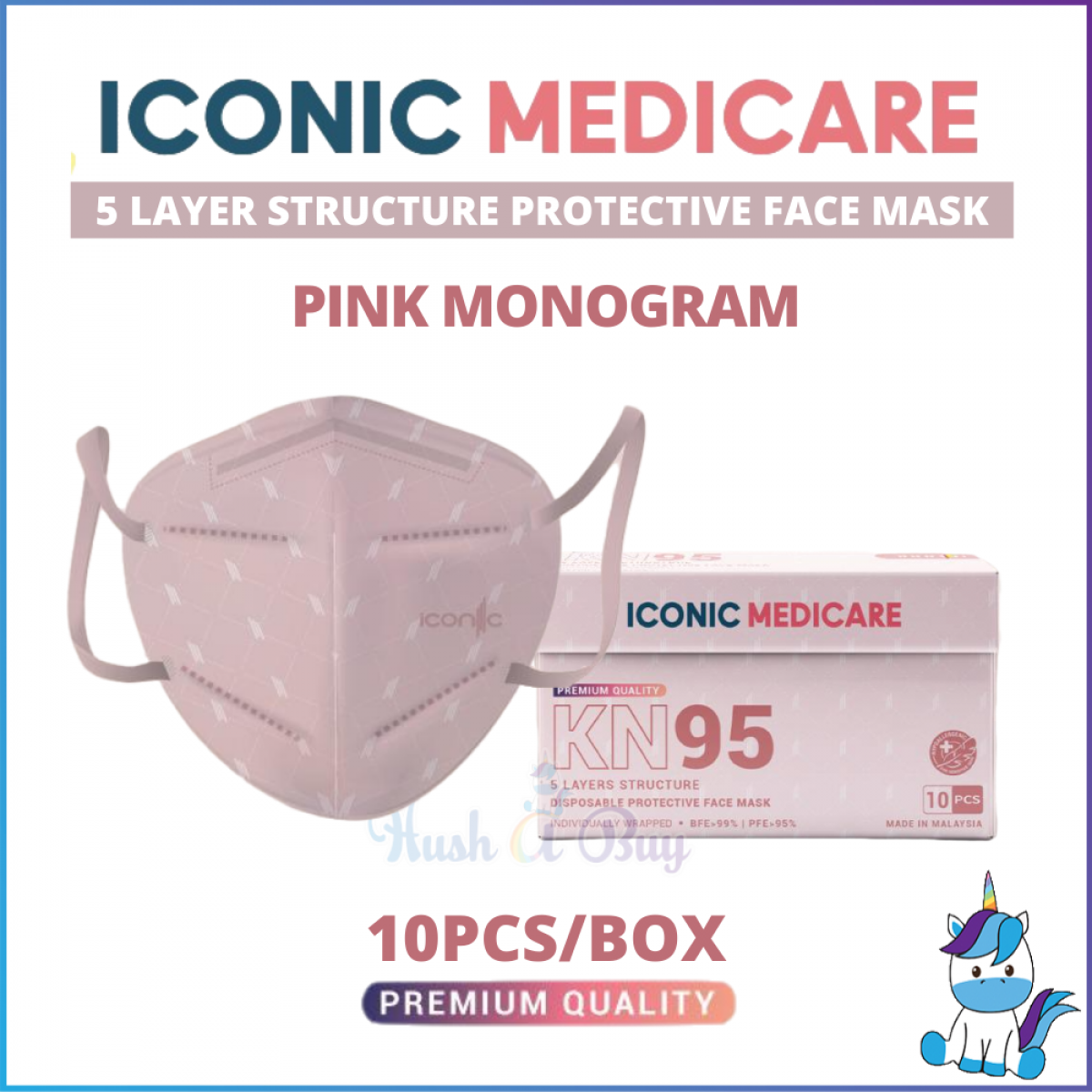 【1 BOX-10pcs】Iconic Adult KN99 (5ply) / KF99 (4ply) Disposable Protective Face Mask / Antiviral with Copper Mask