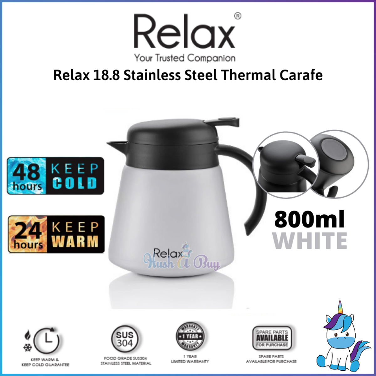 RELAX 18.8 Stainless Steel Thermal Carafe 800ml/1500ml/2000ml (1 Year Warranty)