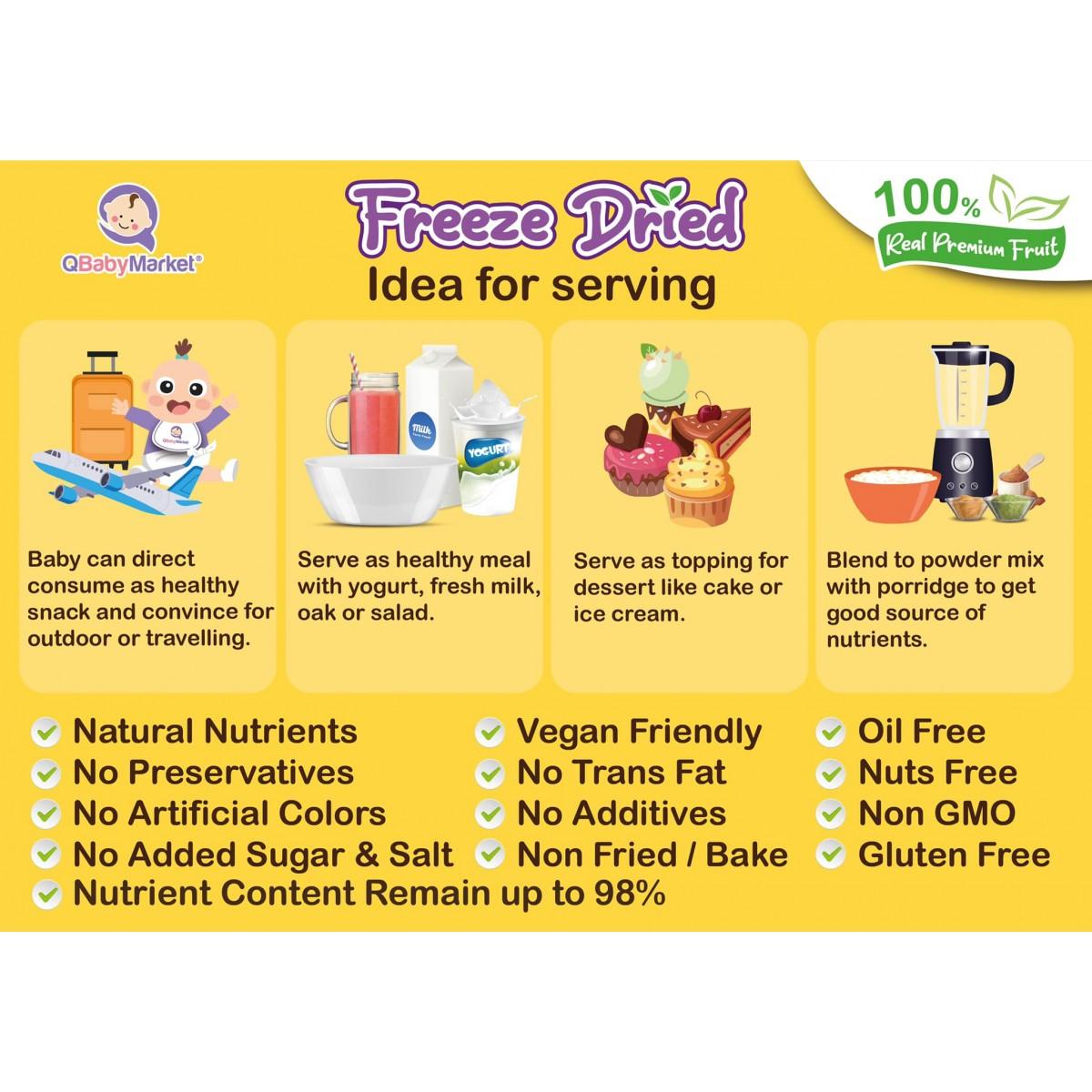 【Halal】Q Baby Market Premium Freeze Dried Fruit Vege 冻干蔬菜水果 20g- Vegan - 100% Real fruit (12+M)