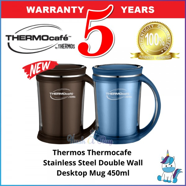 (NEW) Thermos Thermocafe Stainless Steel Double Wall Desktop / Office Mug 450ml - Keep Warm and Cold - 5 Years Warranty