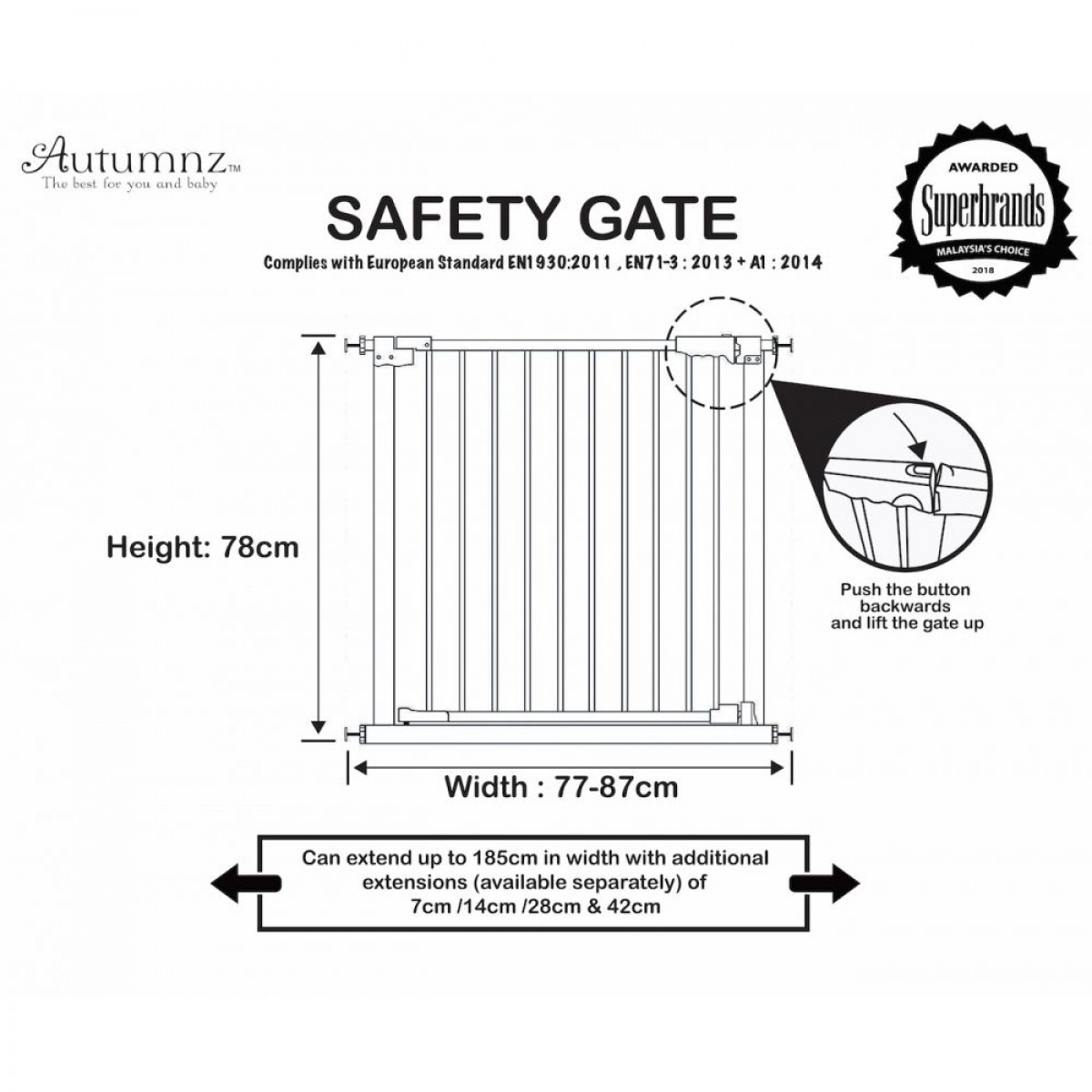 Autumnz Auto Close Safety Gate (77-87cm) / Add on Gate Extension up to 185cm
