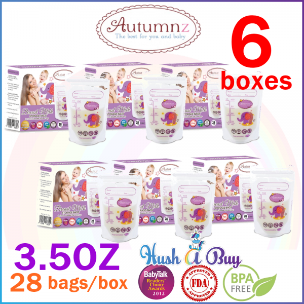 6 BOXES Autumnz Double ZipLock Breastmilk Storage Bag / Bag Susu (28 Bags) 3.5oz / 5oz / 7oz / 10oz / 12oz