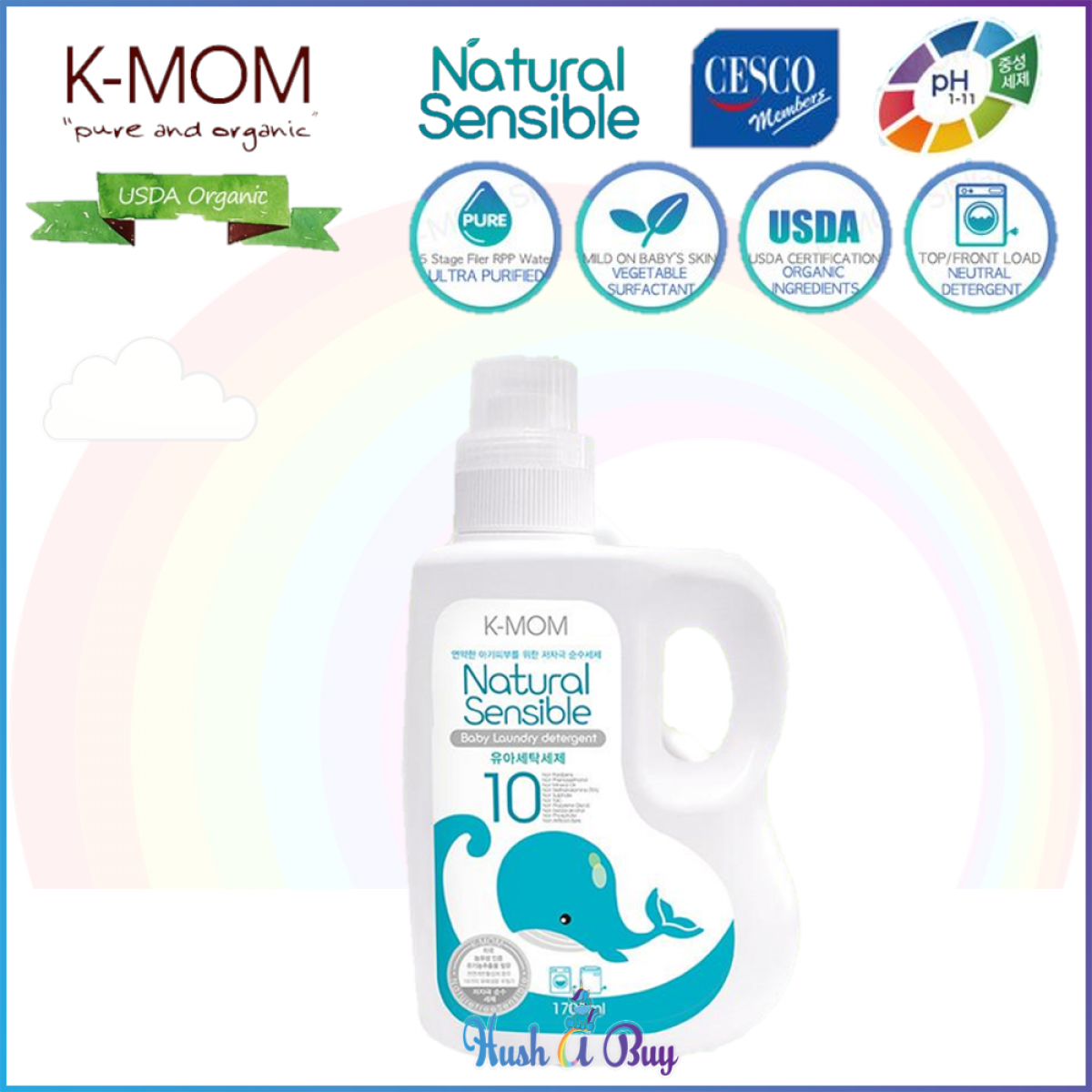 K-MOM USDA Organic Laundry & Floor Detergent Bottle 1700ml