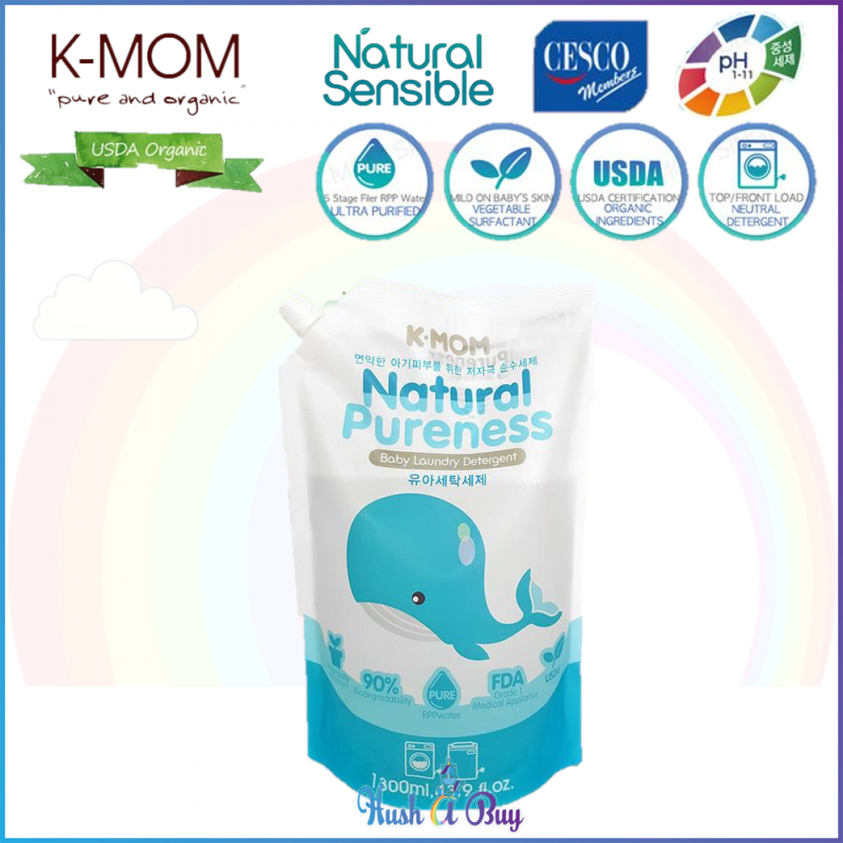 K-MOM USDA Organic Laundry & Floor Detergent Pack 1300ml - Refill