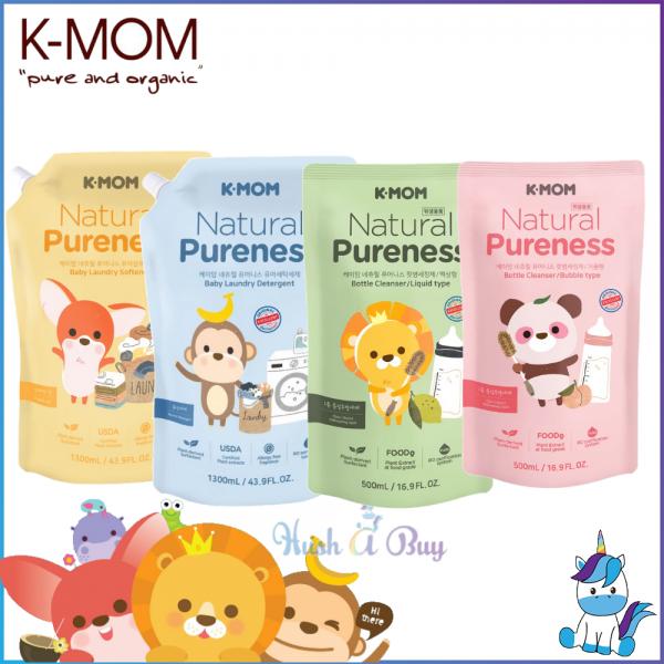 K-MOM USDA Organic Baby Laundry Detergent / Fabric Softener Refill Pack  - New Packaging