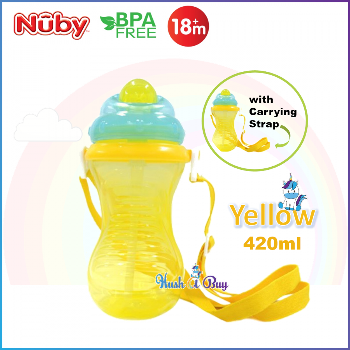 Nuby Flip It With Thin Silicone Straw Cup with Carrying Strap 420ml