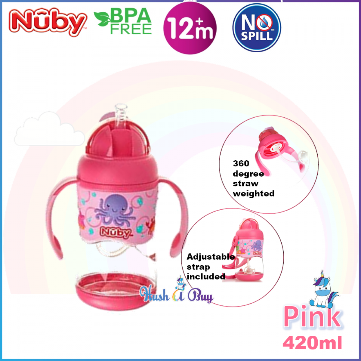 Nuby Tritan Flip It with 3D Vinyl Wrap with Weighted Straw Cup 400ml
