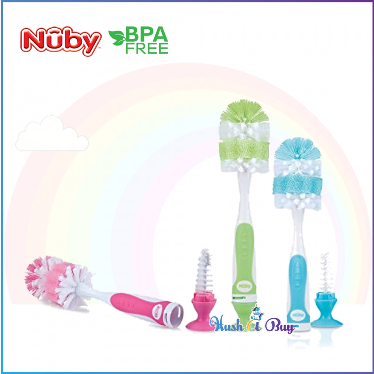 Nuby Bottle Brush With Interlocking Suction Bottom With Nipple Brush