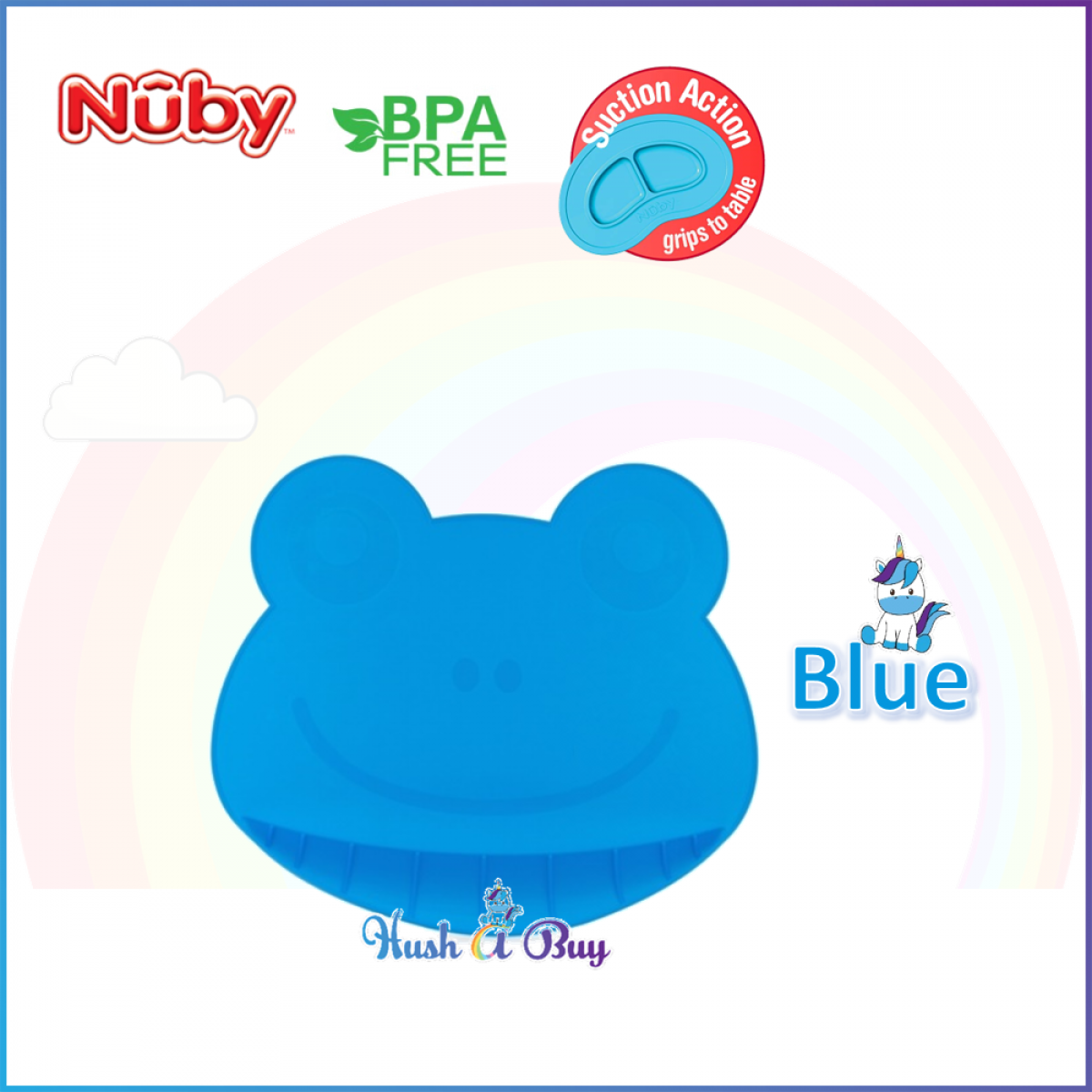 Nuby Suregrip Silicone Placemat in Frog Design (2 colors available)