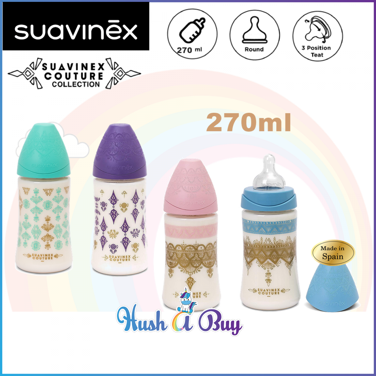 Suavinex Coutour PA Feeding Bottle with Anti-colic Teat 0.6M with 3P Round Teat 270ml
