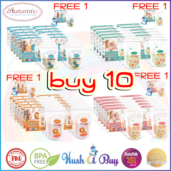 10 BOXES FREE EXTRA BOX Autumnz Double ZipLock Breastmilk Storage Bag / Bag Susu (28 Bags) 3.5oz / 5oz / 7oz / 10oz / 12oz