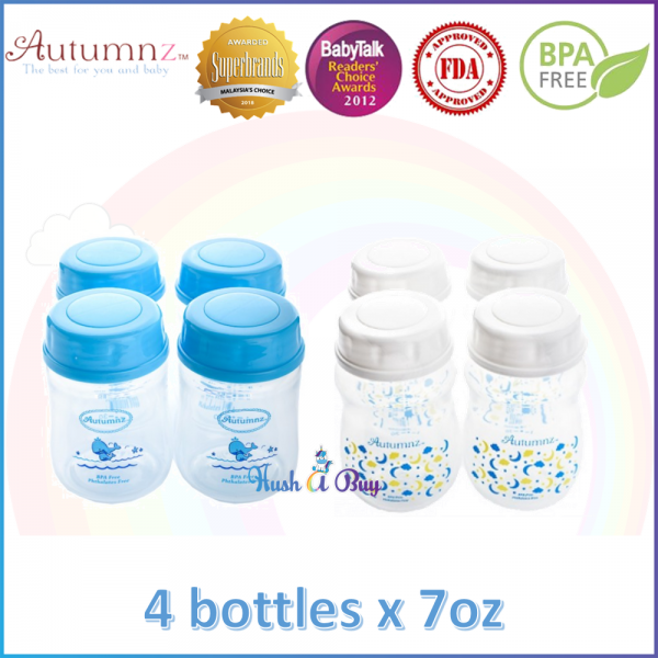 Autumnz  Wide Neck Breastmilk Storage Bottles 7oz (4 bottles) / Susu Botol / Susu Ibu