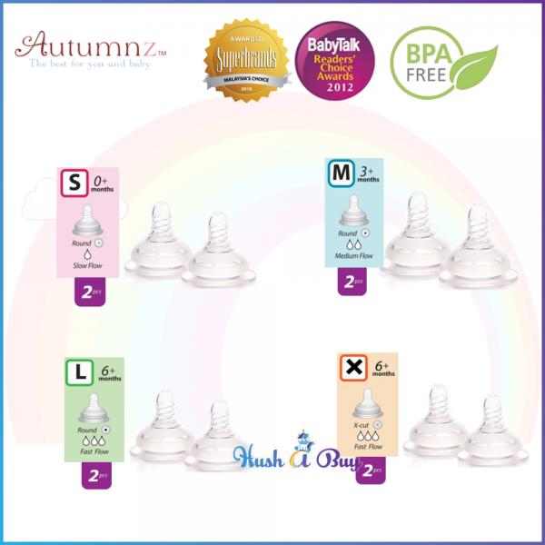 Autumnz Soft Silicone Teat 2pcs 0m/3m/6m/ X cut