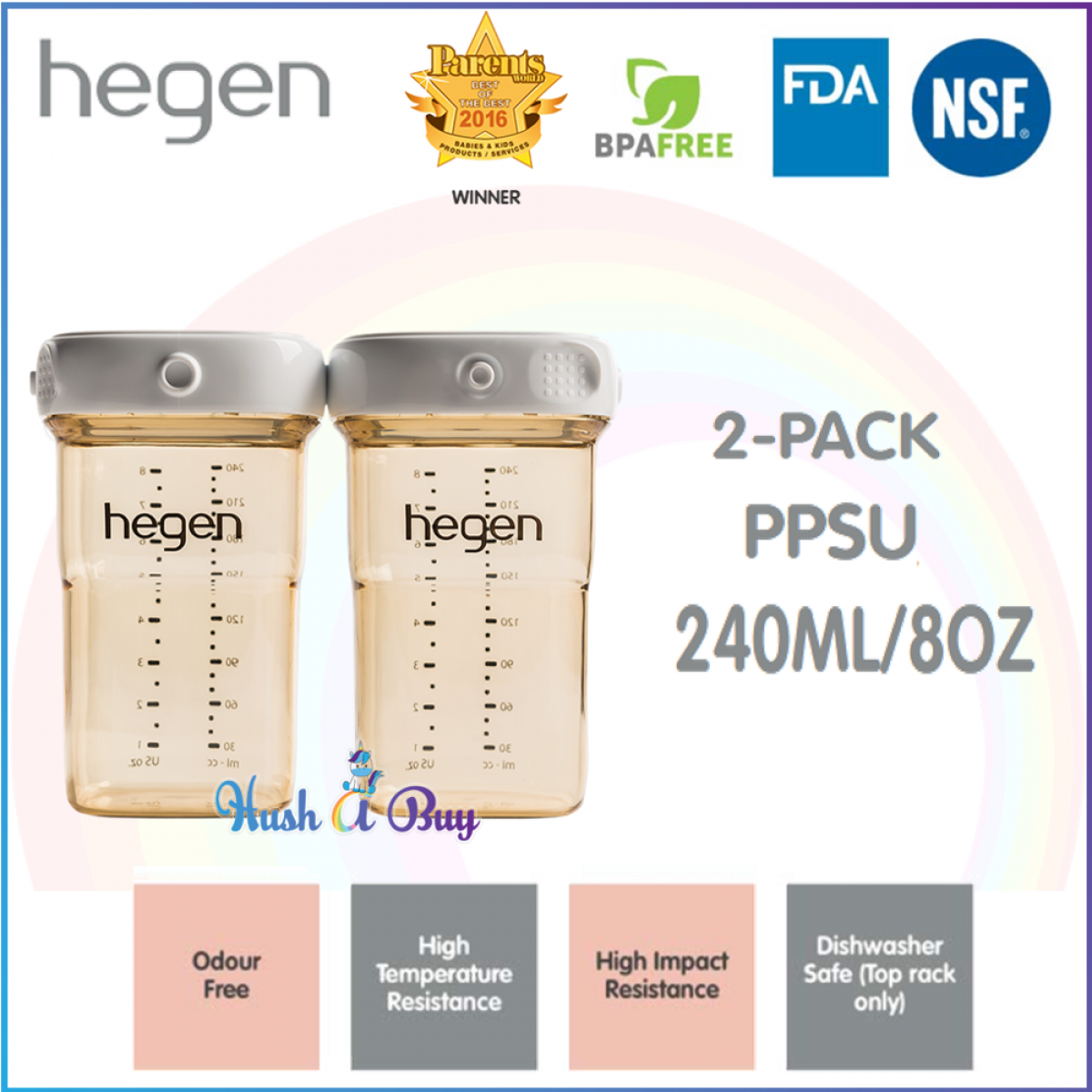 Hegen PCTO Breast Milk Storage PPSU (2-pack) 240ml/8oz